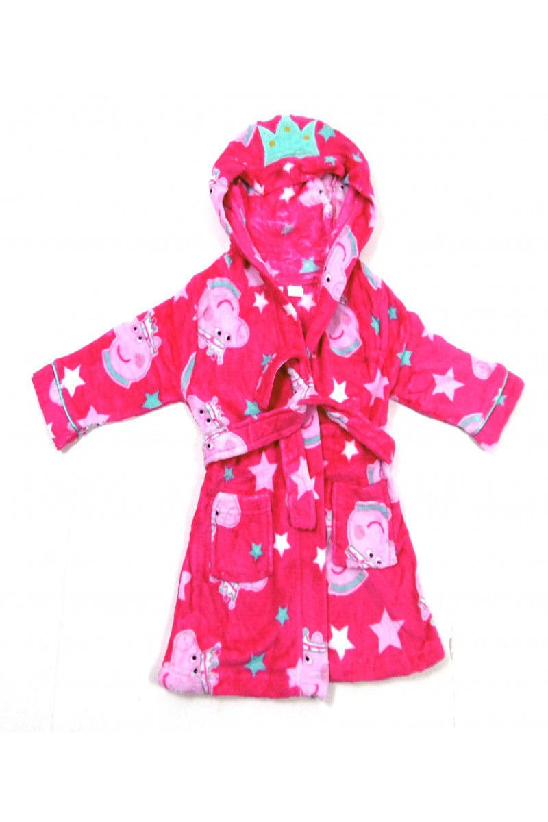 Official Peppa Pig Fluffy Pink Girls Kids Dressing Gown Housecoat ...