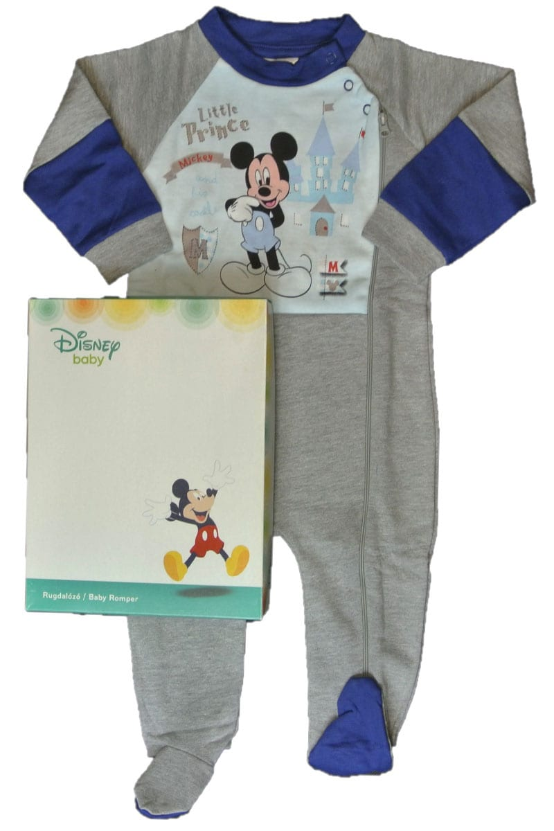 f3594fb7efe0c Disney Baby Grey Blue Mickey Mouse Boys Baby Sleepsuits Babygrows ...